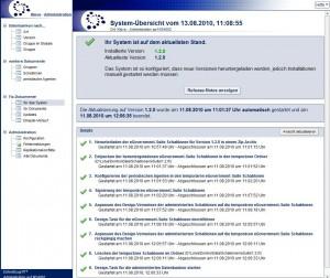 System-Übersicht in der Administrations-Datenbank