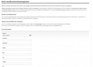 Ideen- und BEschwerdemanagement: Ein Ausschnitt aus dem Webformular der Stadt Moers