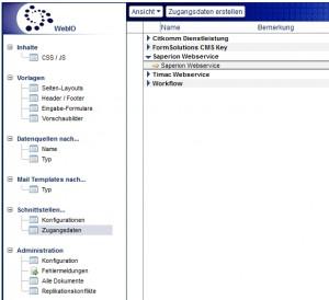 Zugangsdaten in der Web In & Out