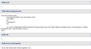 HTML-Bereich einer Lotus-Notes Datenquelle