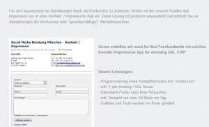 Screenshot: Angebot zur Erstellung eines Facebook Impressum