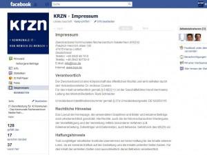 Screenshot des Impressum auf der KRZN Facebookseite: facebook.com/krzn.de