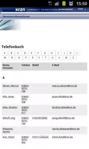 Bildschirmfoto des mobilen KRZN Telefonbuch aufgenommen auf einem Android Handy