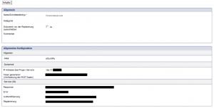 Bildschirmfoto eines beispielhaften Konfigurationsdokuments