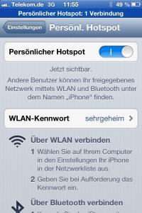 Hotspot Konfiguration auf einem iPhone