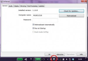 AirServerApp - Konfigurationsbildschirm