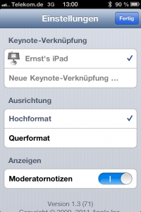 keynote remote Einstellungen