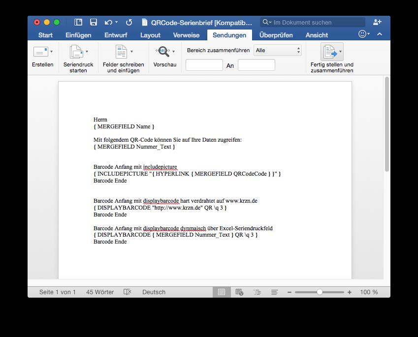 Dynamische Qr Codes Im Ms Office Word Serienbrief Macwindows