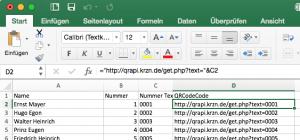 Excel-Datenquelle, man beachte die Formel im Formelfeld